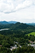 Preview iPhone wallpaper Germany, Bavaria, Fussen, mountain, forest, river, house, castle