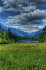 Preview iPhone wallpaper Germany, Berchtesgaden, Bavaria, grass, lake, forest, mountains, clouds