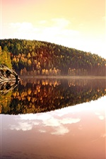 Preview iPhone wallpaper Germany, autumn, nature, sunset, trees, lake, water reflection