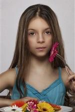 Comer flores da menina, vegetariano