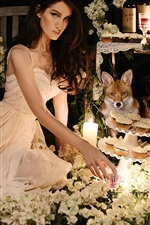 Preview iPhone wallpaper Girl with fox, flowers, candles