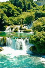 Preview iPhone wallpaper Krka National Park, Croatia, waterfalls, trees, greenery