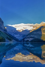 Preview iPhone wallpaper Lake Louise, Banff National Park, Alberta, Canada, mountains, water reflection