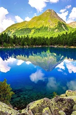 Preview iPhone wallpaper Lake, forest, mountains, rocks, trees, sky, clouds, nature scenery