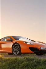 Preview iPhone wallpaper McLaren MP4-12C orange supercar, sun, glare