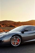 Preview iPhone wallpaper Mclaren MP4-12C gray sports car at sunset