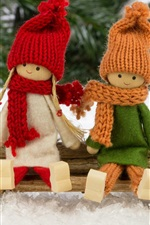Preview iPhone wallpaper Merry Christmas, toys, decoration, snow