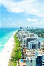Miami, Flórida, cidade, verão, praia, mar, edifícios