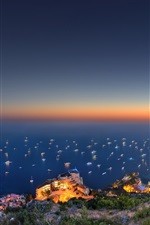 Preview iPhone wallpaper Monaco, city, sea, hill, evening, lights, mountain, boats, house