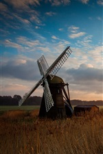Preview iPhone wallpaper Nature, fields, windmill, morning, sunrise