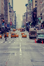 New York City, USA, skyscrapers, street, taxi, people