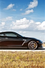 Nissan GT-R R35 black car side view