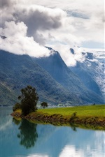 Preview iPhone wallpaper Nordfjord, Norway, mountains, clouds, water
