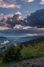Preview iPhone wallpaper Norway, Drammen, mountains, trees, clouds, sunset
