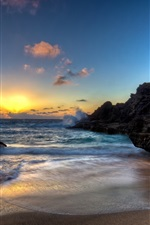 Preview iPhone wallpaper Ocean, coast, sea, waves, stones, sunrise