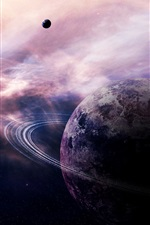 Preview iPhone wallpaper Planet, ring nebula, stars, comet