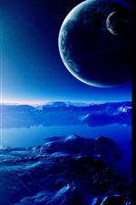 Planetas, montanhas, terrenos, universo, céu, estrela, luz