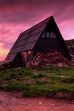Preview iPhone wallpaper Poland, mountains, wood house, road, sunset, twilight