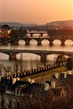 Preview iPhone wallpaper Prague, Old Town, Czech, city, sunset, architecture, bridge, river
