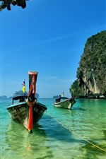 Railay Beach, Island, Thailand, boats, sea