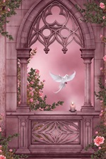 Preview iPhone wallpaper Rose Garden, pigeons, roses, flowers, candles, windows, art pictures