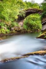 Preview iPhone wallpaper Scotland, Alba, Great Britain, park, valley, river, rocks, bridge, green