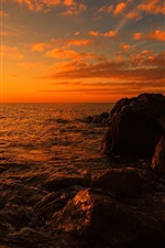 Preview iPhone wallpaper Sea, beach, rocks, sunset, dusk