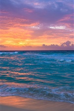 Preview iPhone wallpaper Seaside, dawn, sea, waves, sand, sky clouds, sunrise