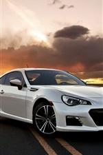 Preview iPhone wallpaper Subaru BRZ white car in the road