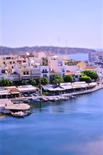 Preview iPhone wallpaper Tilt-shift photography, bay city, Greece, boats, house