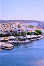 Tilt-shift photography, bay city, Greece, boats, house