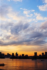 Preview iPhone wallpaper Tokyo, Japan, city, bridge, sunset, sea, buildings, sky, clouds