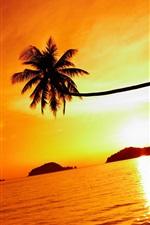 Preview iPhone wallpaper Tropical beach sunset, Mak island, Thailand