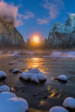 Preview iPhone wallpaper USA, Yosemite National Park, river, mountains, winter, snow, sunset