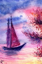 Preview iPhone wallpaper Watercolor landscape, evening, tree, sailing, river