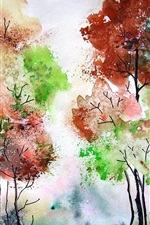 Preview iPhone wallpaper Watercolor painting, trees, colors