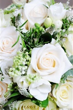 Preview iPhone wallpaper White bouquet rose, flowers, leaves