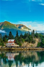 Preview iPhone wallpaper Alaska, mountain, forest, trees, village, lake, water reflection
