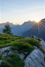 Preview iPhone wallpaper Alps, Switzerland, mountains, dawn, sunrise