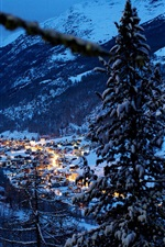 Preview iPhone wallpaper Alps, Switzerland, mountains, trees, winter, snow, house, night