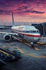 Preview iPhone wallpaper American Airlines, Chicago, airplane, airport, dawn