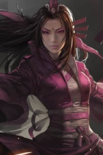 Preview iPhone wallpaper Art fantasy girl, asian, sword, purple clothes