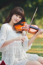 Preview iPhone wallpaper Asian girl, white dress, violin