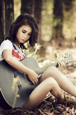 Preview iPhone wallpaper Asian guitar girl, sitting, trees