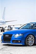 미리보기 iPhone 배경 화면 아우디 A4 파란 차, 공항, 항공기