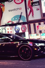 Preview iPhone wallpaper Audi A7 black car, city street, night