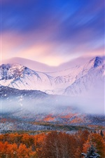 Preview iPhone wallpaper Autumn morning, mountains, sky, snow, forest