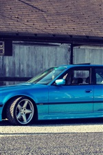 Preview iPhone wallpaper BMW E38 750iL blue car side view