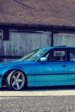 미리보기 iPhone 배경 화면 BMW E38 750iL 파란색 자동차 측면보기
