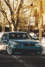 Preview iPhone wallpaper BMW E60 528i M5 blue car, winter, sunrise